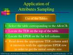 application of attributes sampling