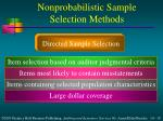 nonprobabilistic sample selection methods