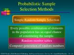 probabilistic sample selection methods