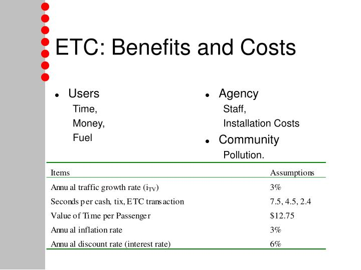 etc benefits and costs n.