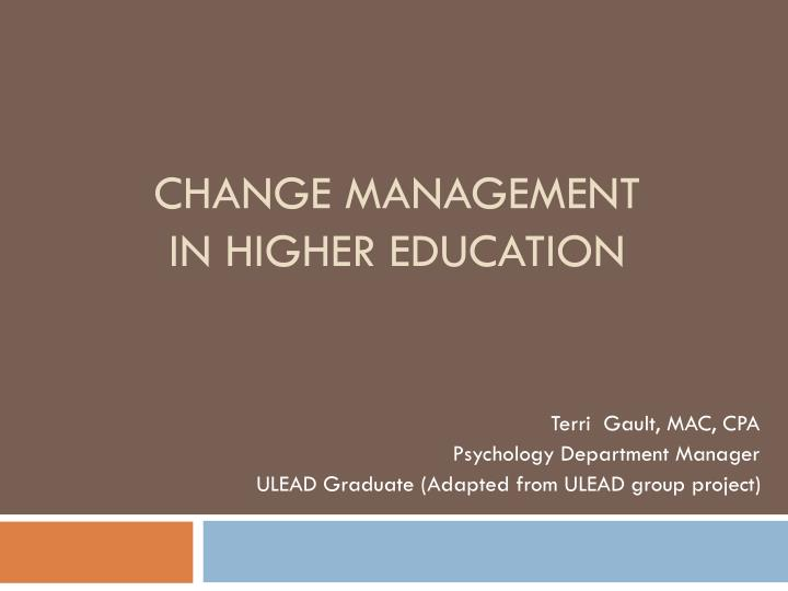 change management in higher education n.