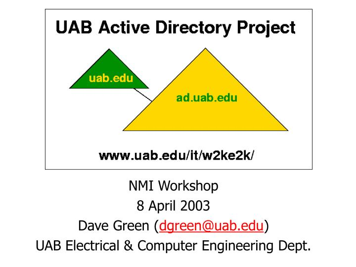 uab windows 2000 active directory project n.
