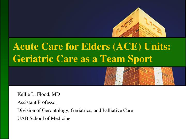 acute care for elders ace units geriatric care as a team sport n.
