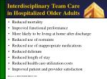 interdisciplinary team care in hospitalized older adults
