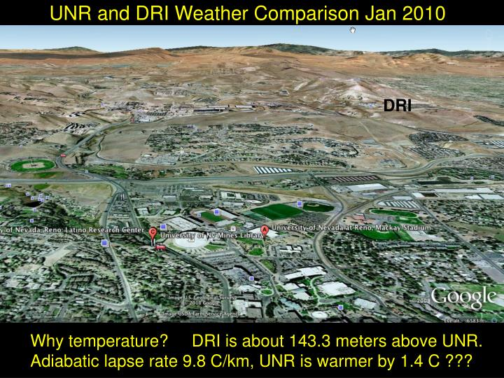 unr and dri weather comparison jan 2010 n.