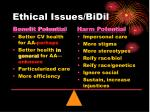 ethical issues bidil