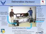 deliverables hardware