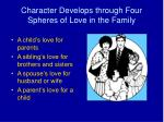 character develops through four spheres of love in the family