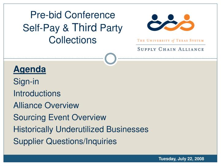 pre bid conference self pay third party collections n.