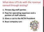 what does uts do with the revenue earned through testing