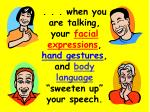 when you are talking your facial expressions hand gestures and body language sweeten up your speech