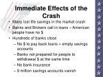 immediate effects of the crash