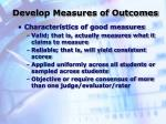 develop measures of outcomes1