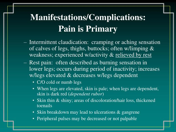 Manifestations/Complications: