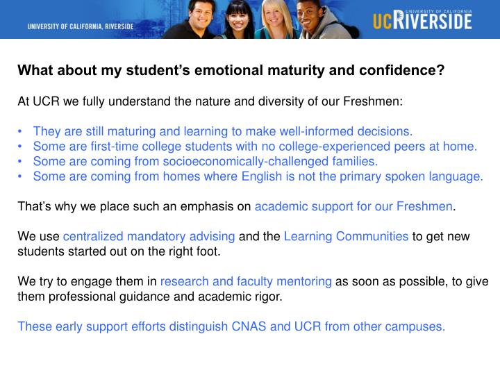 What about my student's emotional maturity and confidence?