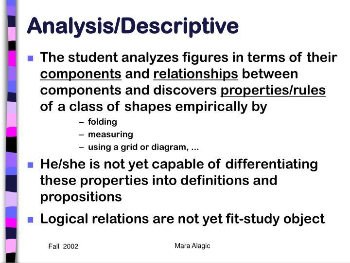 Analysis/Descriptive
