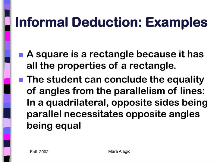 Informal Deduction: Examples
