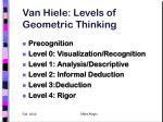 van hiele levels of geometric thinking