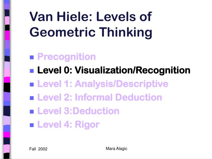 Van hiele levels of geometric thinking1