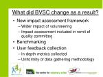 what did bvsc change as a result