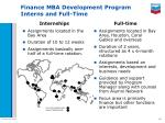finance mba development program interns and full time