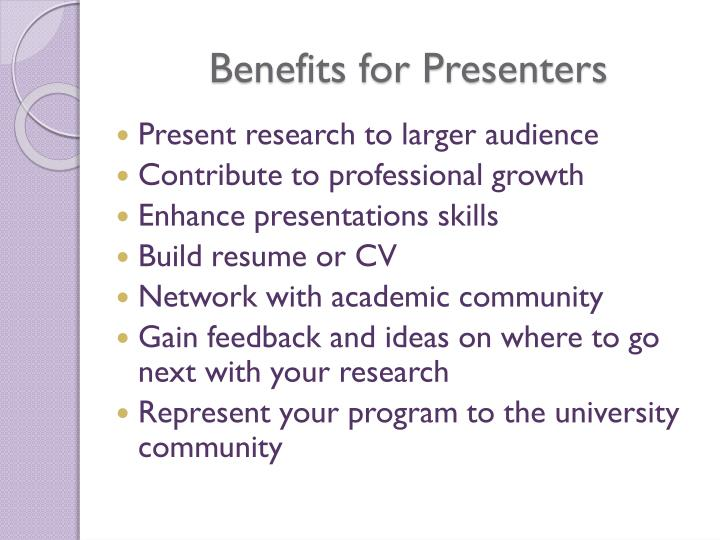 Benefits for Presenters