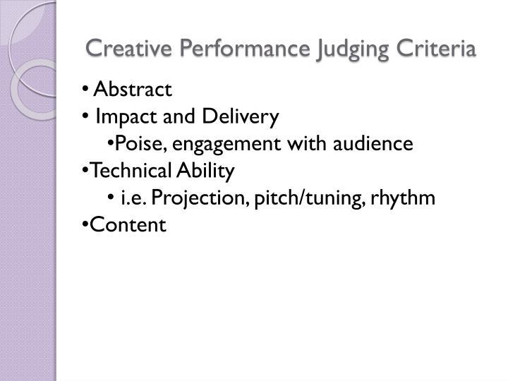 Creative Performance Judging Criteria