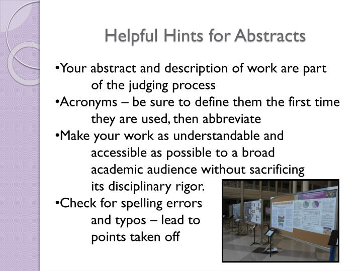 Helpful Hints for Abstracts