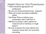 helpful hints for oral presentations
