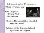 information for presenters