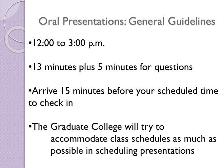 Oral Presentations: General Guidelines