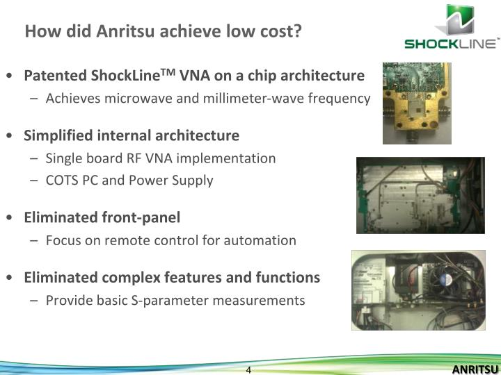 How did Anritsu achieve low cost?