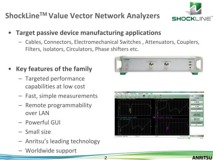 Shockline tm value vector network analyzers