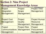 section 2 nine project management knowledge areas