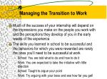 managing the transition to work