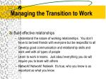 managing the transition to work2