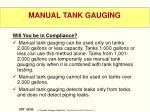 manual tank gauging
