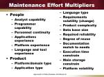 maintenance effort multipliers