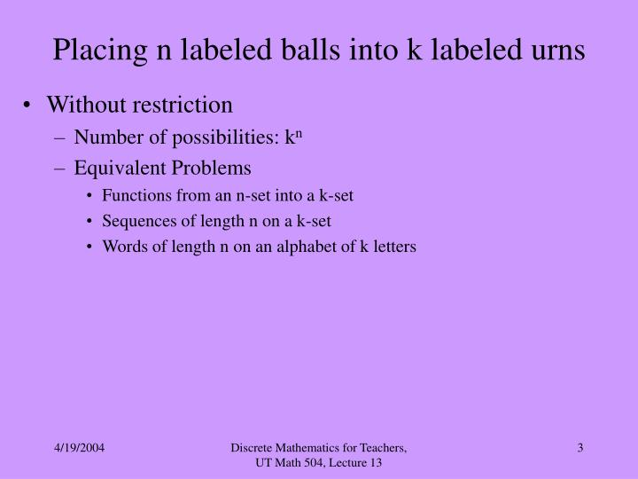 Placing n labeled balls into k labeled urns