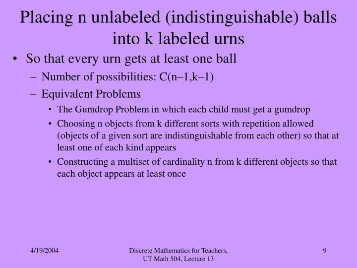 Placing n unlabeled (indistinguishable) balls into k labeled urns