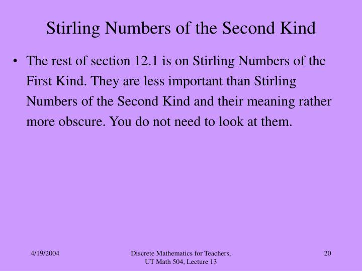 Stirling Numbers of the Second Kind