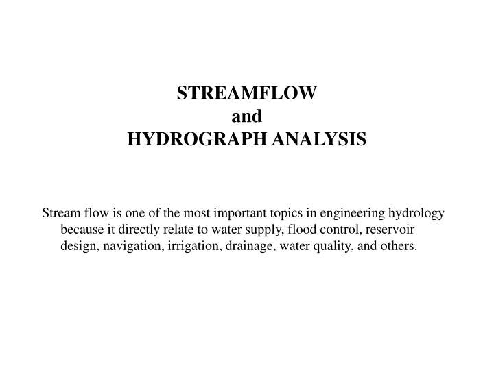 streamflow and hydrograph analysis n.