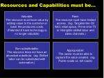 resources and capabilities must be