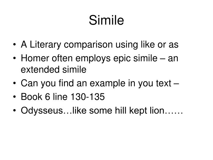 examples of epic similes in the odyssey
