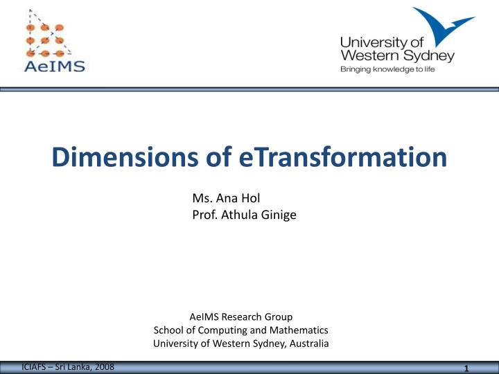 dimensions of etransformation n.
