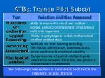 atbs trainee pilot subset