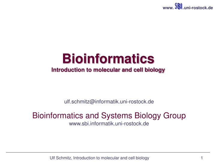 bioinformatics introduction to molecular and cell biology n.