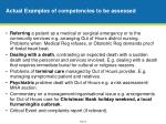 actual examples of competencies to be assessed