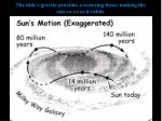 the disk s gravity provides a restoring force making the sun yo yo as it orbits