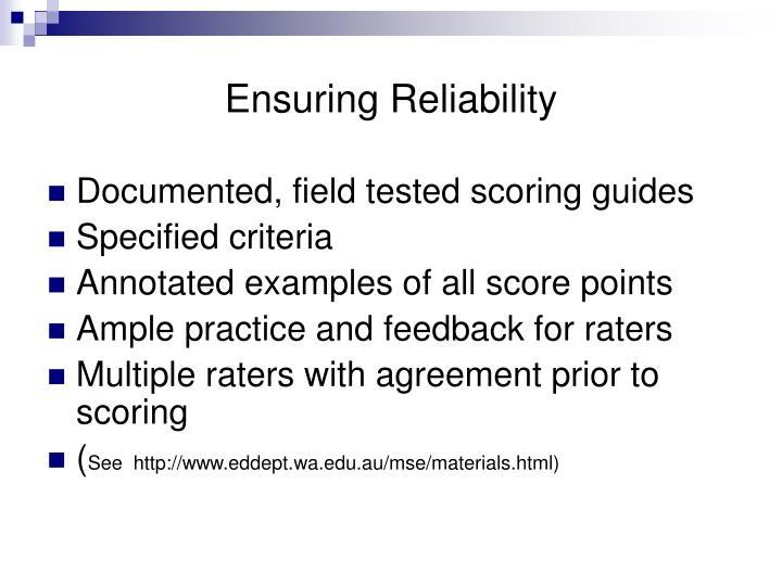 Ensuring Reliability